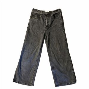 Free People Cropped High Waisted Wide Leg Jeans 28